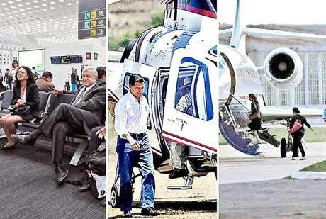 AMLO viaja en aerolíneas comerciales, Peña dispone de al menos seis aeronaves y Vázquez Mota contrató 200 horas de vuelo con un avión particular.