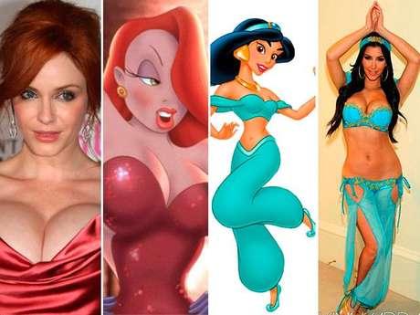 Descubre qué personajes de la farándula de Hollywood se parecen a algunas famosas caricaturas.