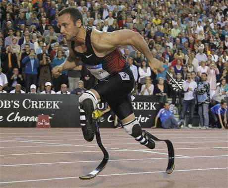 Oscar Pistorius of South Africa competes during the men's 400 metres event at the Memorial Van Damme, IAAF Diamond League athletics meeting in Brussels September 16, 2011.