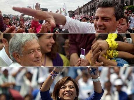 Enrique Peña Nieto, Andrés López Obrador y Josefina Vázquez Mota son los candidatos con más chance de ganar las elecciones. Gabriel Quadri está relegado según las encuestas.