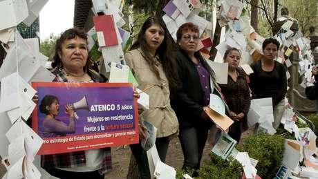 Estas manifestantes fueron víctimas de los abusos policiales en los hechos acontecidos en la ciudad de San Salvador Atenco en 2006 cuando las autoridades violaron y torturaron a varias mujeres durante una protesta por el desalojo de vendedores ambulantes. Más de 26 mujeres sufrieron agresiones sexuales a manos de la policía tras ser detenidas en manifestaciones. Seis años después, siguen pidiendo justicia.