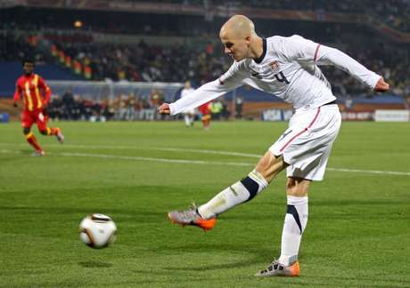 Michael Bradley of the United States in action during the 2010 FIFA World Cup South Africa Round of Sixteen match between USA and Ghana at Royal Bafokeng Stadium on June 26, 2010 in Rustenburg, South Africa.