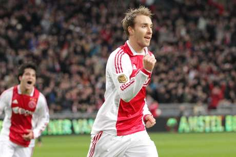 Christian Eriksen of Ajax during the Dutch Eredivisie match between Ajax Amsterdam and ADO Den Haag at the Amsterdam Arena on December 18, 2011 in Amsterdam, Netherlands.