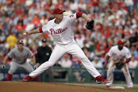 Philadelphia Phillies' Roy Halladay pitches in the third inning of a baseball game against the Washington Nationals, Tuesday, May 22, 2012, in Philadelphia.