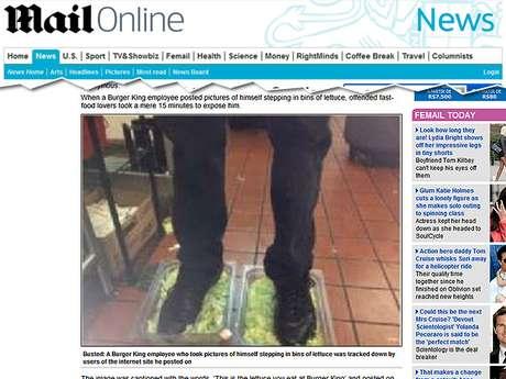 Funcionário do Burger King teria sido demitido após foto pisando em alface