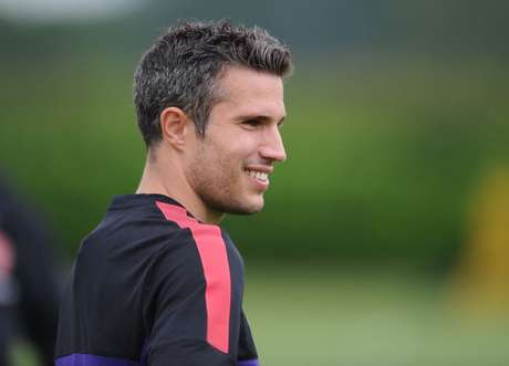 Robin van Persie of Arsenal looks on during a training session at London Colney on July 17, 2012 in St Albans, England.