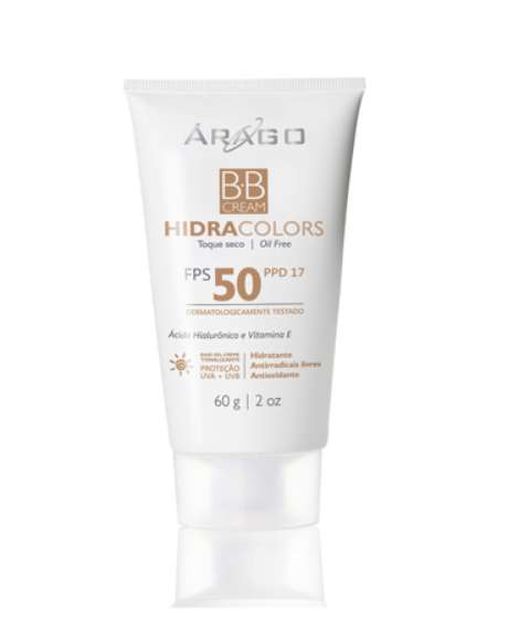 B.B Cream - HidraColors FPS 50 protege, tonaliza, combate o envelhecimento, oferece efeito mate e hidrata a pele.