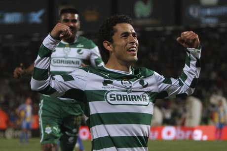 Herculez Gomez (R) of Santos celebrates a scored goal against San Luis during a match as part of the Clausura Tournament 2012 at Corona Stadium on March 3, 2012 in Torreon, Mexico.