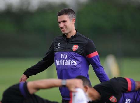 Robin van Persie of Arsenal during a training session at London Colney on July 20, 2012 in St Albans, England.