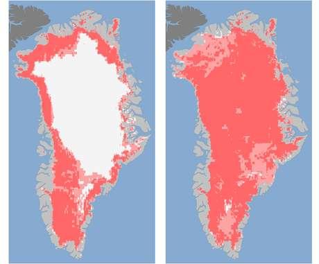 Los científicos están tratando de entender el fenómeno que hizo que durante varios días de este mes hubiera derretimiento en la mayor parte de la superficie del hielo que cubre Groenlandia, algo que no había sido detectado desde que se iniciaron observaciones vía satélite de la zona hace treinta años. (Textos de BBC Mundo)