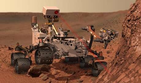 Concepto artístico del explorador rodante Curiosity de la NASA que llegará esta semana a Marte. Tras un recorrido de 566,4 millones de kilómetros (352 millones de millas) en ocho meses y medio, Curiosity intentará descender el 5 de agosto de 2012 en la superficie marciana.