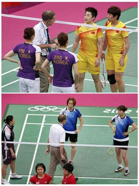 Combination photo shows officials speaking to players from China and South Korea (top), and players from South Korea and Indonesia during their women's doubles group stage badminton matches during the London 2012 Olympic Games at the Wembley Arena in this July 31, 2012 file photo.