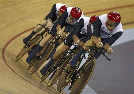 Britain's Ed Clancy, Geraint Thomas, Steven Burke and Peter Kennaugh compete in the track cycling men's team pursuit first round heats at the Velodrome during the London 2012 Olympic Games August 3, 2012.