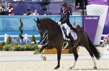 Britain's Charlotte Dujardin rides Valegro during the equestrian individual dressage Grand Prix Day 2 in Greenwich Park at the London 2012 Olympic Games August 3, 2012.
