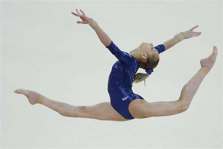 Russia's Victoria Komova performs her floor exercise during the women's individual all-around gymnastics final in the North Greenwich Arena at the London 2012 Olympic Games August 2, 2012.