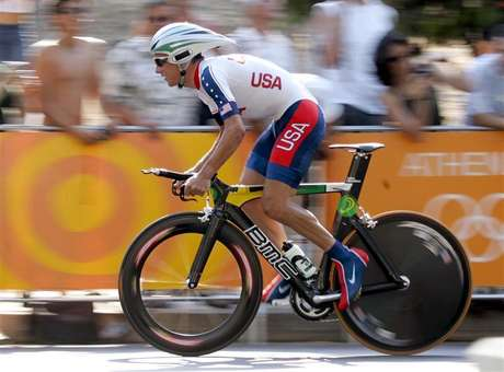 Tyler Hamilton of the U.S. takes the start in the men's 48-kilometre individual time trial event at Vouliagmeni near Athens, as part of the Athens 2004 Olympic Games in this August 18, 2004 file photo. American cyclist Tyler Hamilton will officially be stripped of his Athens 2004 Olympic gold medal on Friday as the International Olympic Committee (IOC) moves to close the case before the end of an eight-year statute of limitation, an IOC source told Reuters on August 9, 2012.