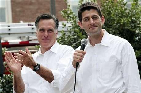 Romney y Ryan durante el anuncio oficial sobre la elección del vicepresidente en Virginia.