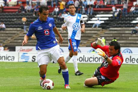 Omar Bravo challenges the Puebla keeper during the match.