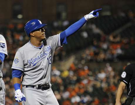 Royal's Salvador Perez celebrates after hitting a two-run homerun against the Baltimore Orioles.