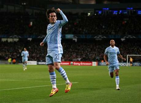 David Silva celebra un gol