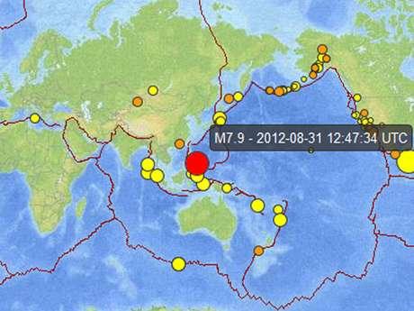 Captura del USGS donde se ve, marcado en rojo, el lugar del temblor.
