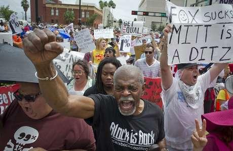 Las protestas se hiciero sentir en ambas convenciones, como en Tampa, durante el mitín republicano.