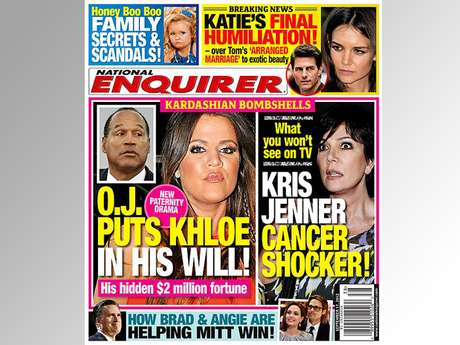 O.J.?  The Kardashians?  This is a goooood cover.  National Enquirer is once again opening up the can of worms that exists about Khloe Kardashian's paternity drama.  Is Simpson REALLY her dad?  How in the world is he going to leave her $2 million when he's in the slammer?  Tell us what you think, below!  (Terra USA/Dennis Pastorizo)
