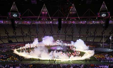 A general view of the closing ceremony for the 2012 Paralympics games, Sunday, Sept. 9, 2012, in London.