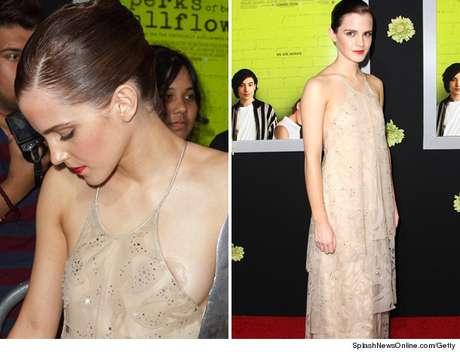 Emma Watson deja ver la florecilla de su pecho en un descuido.