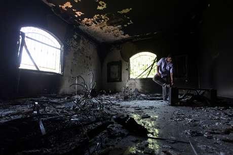 Así quedó el interior del Consulado norteamericano en Bengasi, tras el atentado del martes donde murió el embajador, Christopher Stevens.