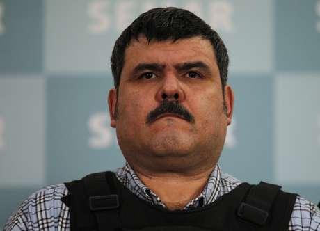 """Jorge Eduardo Costilla Sánchez, alias """"El Coss"""", fue presentado la mañana de este jueves por autoridades de la Marina en la Ciudad de México."""