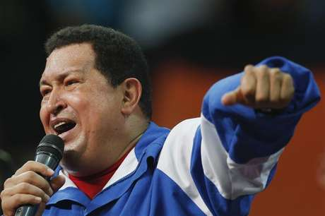 Venezuelan President and presidential candidate Hugo Chavez speaks at a campaign rally with Socialist party youth in Caracas September 19, 2012.