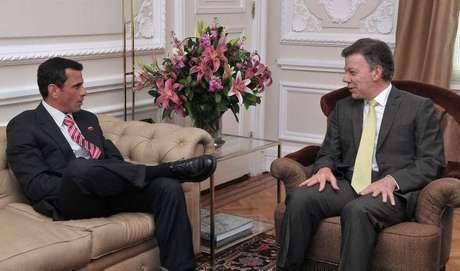 El miércoles pasado el mandatario colombiano, Juan Manuel Santos, recibió al candidato presidencial de Venezuela Henrique Capriles en la Casa de Nariño en Bogotá.