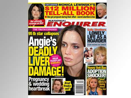 Say it ain't so!  Angelina Jolie has liver damage?!  Did she really get an organ transplant?  Is she 95 pounds and collapsed?  Guess we'll just have to buy the classiest of the tabloids (a.k.a The Enquirer) to find out.  (Terra USA/Dennis Pastorizo)