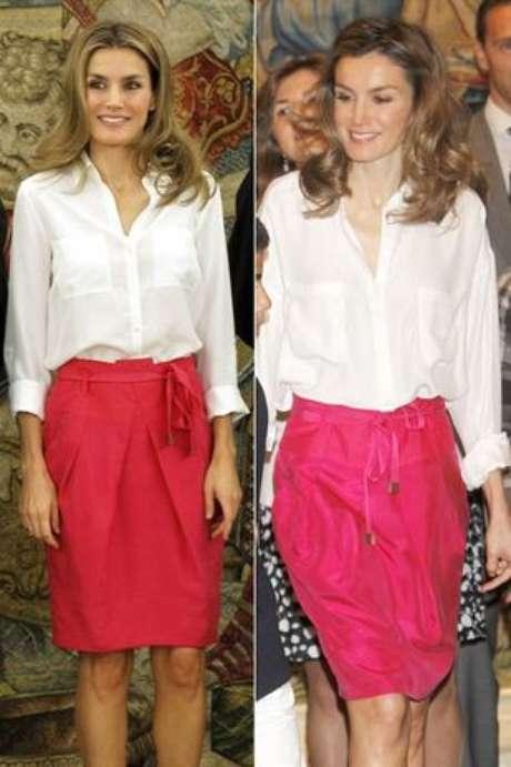 Letizia Ortiz repitió el viernes un conjunto formado por una falda de color fresa y blusa blanca de manga larga. La Princesa llevó este modelito en junio de 2011.