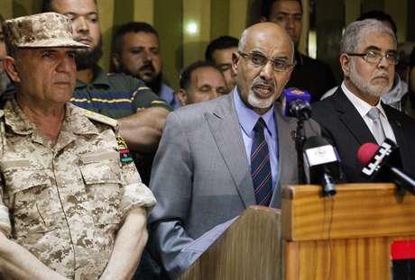 El presidente de la Asamblea Nacional libia, Mohamed Youcef Al Megaryef durante la rueda de prensa