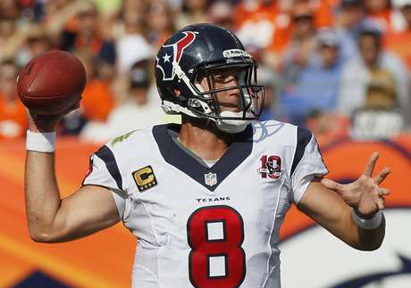 Houston Texans quarterback Matt Schaub throws against the Denver Broncos in their NFL football game in Denver September 23, 2012.