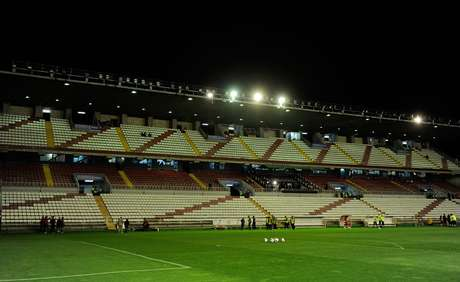 View of the estadio Teresa Rivero stadium after the flood lights failed before the La Liga match between Rayo Vallecano and Real Madrid CF on September 23, 2012 in Madrid, Spain. The match was later suspended.
