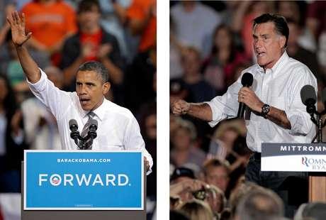 En esta fotografía del 26 de septiembre de 2012, el presidente Barack Obama y el candidato presidencial republicano Mitt Romney hacen campaña en Ohio. Ambos candidatos tienen misiones específicas para la serie de tres debates que comienza el miércoles 3 de octubre de 2012. Obama debe convencer a los estadounidenses escépticos de que en un segundo periodo de gobierno podrá cumplir lo que no pudo en el primero. Romney, en tanto, necesita inspirar confianza en que es una alternativa más creíble