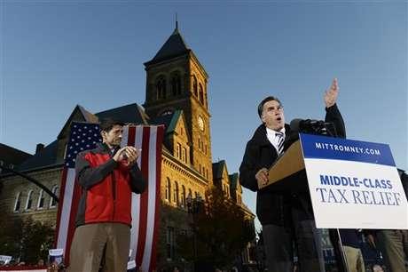 Romney en un acto de  campaña en Ohio.