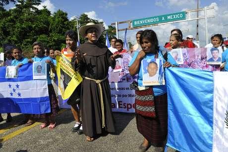 Caravana de madres centroamericanas, que cada año buscan a sus familiares desaparecidos en México.