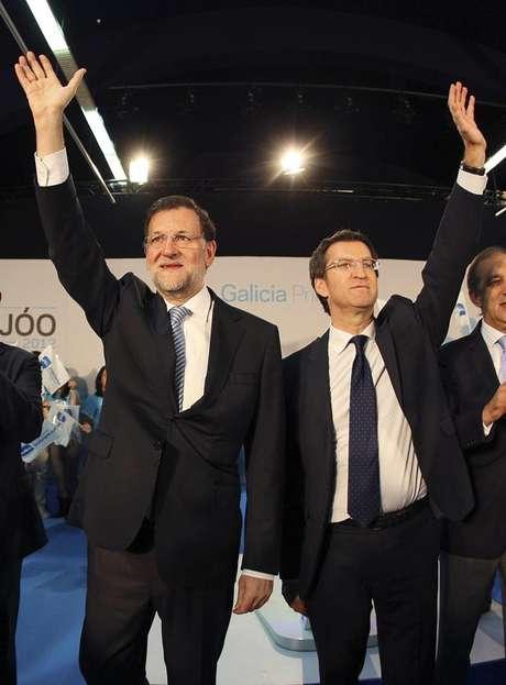 Mariano Rajoy y Alberto Núñez Feijóo, durante la campaña