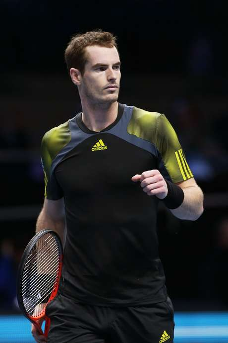 Andy Murray of Great Britain celebrates a point during the men's singles match against Tomas Berdych of Czech Republic on day one of the ATP World Tour Finals at the O2 Arena on November 5, 2012 in London, England.