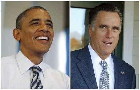 Uma montagem mostra o presidente dos EUA, Barack Obama, em meio a chamadas telefônicas a voluntários de sua campanha em Chicago e o candidato Republicano à preisdência dos EUA, Mitt Romney, deixando a sessão eleitoral após votar em Belmont, Massachusetts. 6/11/2012