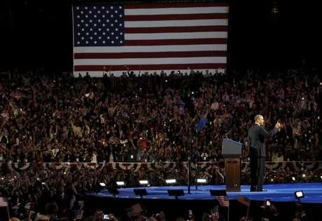 El reelegido presidente Obama, durante el discurso tras su victoria