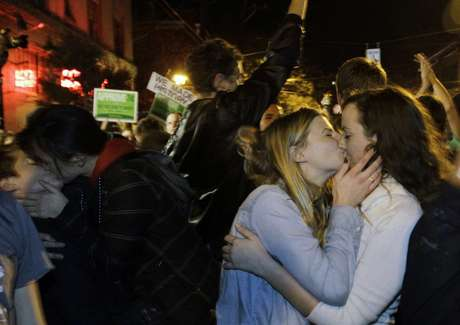 Gay Marriage supporters celebrate after it was announced the measure had passed.