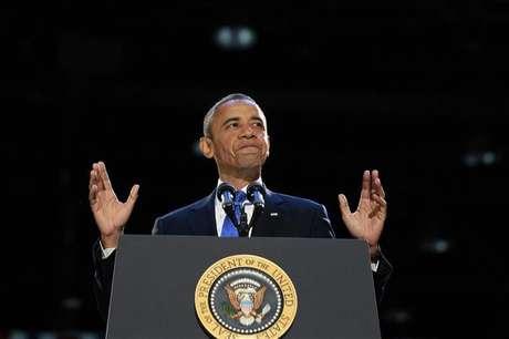 O presidente norte-americano, Barack Obama, profere discurso da vitória após ser reeleito para um mandato de mais quatro anos, na madrugada desta quarta-feira, em Chicago, nos Estados Unidos. 07/11/2012