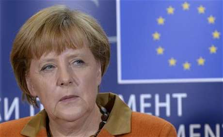Germany's Chancellor Angela Merkel holds a news conference after addressing the political groups at the European Parliament in Brussels November 7, 2012.