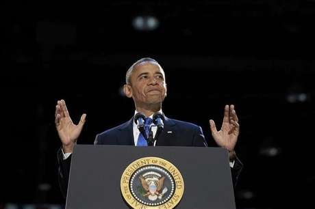 U.S. President Barack Obama speaks during his election night victory rally in Chicago, November 7, 2012.