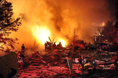 "The cause of an explosion and fire that killed two people Saturday night when it tore through a residential area of Indianapolis was under investigation on Sunday, authorities said. ""There's a significant number of homes that have sustained damage, including two that have been completely destroyed, no cause has been ruled out,"" said Marc Lotter, a spokesman for Indianapolis Mayor Greg Ballard."